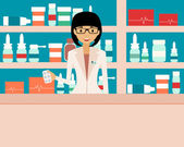 Gelukkig vrouwelijke apotheker permanent in een drogisterij. Vectorillustratie — Stockvector