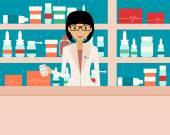 Happy female pharmacist standing in a  drugstore. Vector illustration — Stock Vector