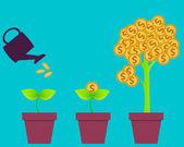 Företagens investeringar. Träd med pengar. Vektor illustration — Stockvektor
