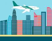 Plane flies over the modern city. Vector illustration — Stock Vector