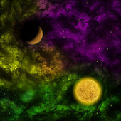 Space scenario: nebula and the star with planet in the front — Stock Photo