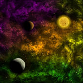 Space scenario: nebula and the star with planets in the front — Stock Photo