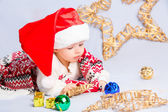 Little baby celebrates Christmas — Stock Photo