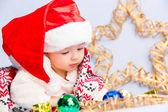 Little baby celebrates Christmas — Stock Photo