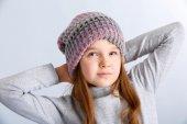 Child girl wearing hat — Stockfoto