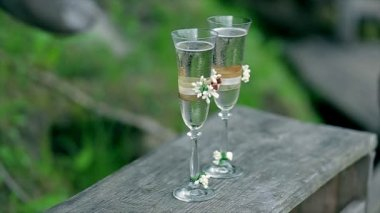 Two glasses with sparkling wine — Wideo stockowe