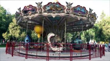 The amusement park carousel. — Stock Video