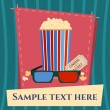 Popcorn box, 3D glasses and ticket cinema poster in modern style. — Stock Vector #55994145