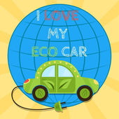 Poster of a green electric car with plug. I love my eco car — Stock Vector