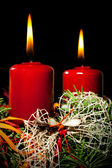 Lightning the candles on advent wreath — Stock fotografie