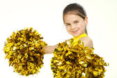 Smiling beautiful cheerleader with pompoms. Isolated on white — Stock Photo