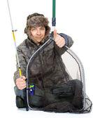 Olta stüdyo ile balıkçı — Stok fotoğraf
