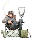 Fisherman with fishing rod in the studio — Stock Photo
