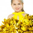 Smiling beautiful cheerleader with pompoms. Isolated on white — Stock Photo #58210009