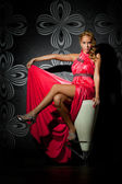 Retrato de una joven negra, modelo de la moda vestido — Foto de Stock