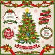 Christmas and New Year holidays set of labels, ribbons and other decorative elements. Vector illustration — Stock Vector #57203097