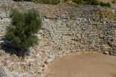 Kaunos amphitheatre  from Dalyan, Turkey — Stock Photo