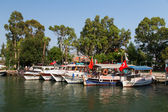 Boats in Dalyan River — Stock Photo