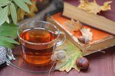 Tea, books, autumn leaves and fruits — Stock Photo