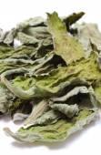 Folhas secas de hortelã no fundo branco — Fotografia Stock