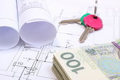 Heap of banknotes, keys and electrical diagrams on drawing of house — Stock Photo