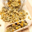 Dried chamomile in glass jar and on wooden spoon — Stock Photo #61201597