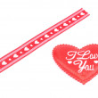 Red ribbon and heart I love You for Valentine day — Stock Photo #61449607