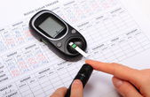 Test for determination level sugar and medical form — Stock Photo
