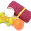 Dumbbells, towel for using in fitness, healthy lifestyle and nutrition — Stock Photo #63101497