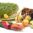 Easter palm and eggs in overturned wicker basket and watercress — Stock Photo #66295195