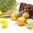 Easter eggs in overturned wicker basket and green watercress — Stock Photo #66463947