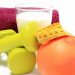 Accessories for using in fitness, concept for healthy lifestyle and nutrition — Stock Photo #68056717