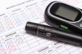 Glucometer and lancet device on medical forms for diabetes — Stock Photo