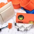 Electrical components, accessories for engineering jobs and diagrams — Stock Photo #71213483