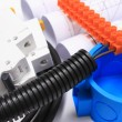 Components for electrical installations and rolls of diagrams — Stock Photo #72309605