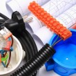 Components for electrical installations and rolls of diagrams — Stock Photo #72309673