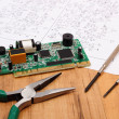 Printed circuit board. precision tools and diagram of electronics, technology — ストック写真 #82545020