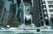 City Destroyed by Tsunami — Stock Photo