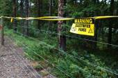Electric Fence Warning — Foto de Stock