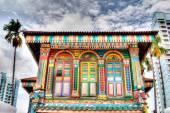 Singapore Landmark: Colorful building facade in Little India — Stock Photo