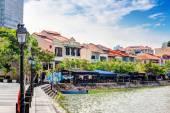 Singapore Landmark: HDR of Boat Quay on Singapore River — Foto de Stock