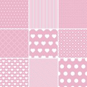 Set of St Valentines pink seamless patterns — Stock Vector