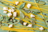 Ingredients for pasta, uncooked — Stock Photo