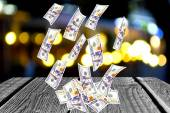 Big pile of money. dollars,background night street — Stock Photo