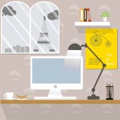 Working desk in Paris France — Stock Vector