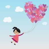 Female on the sky with heart air balloon — Stok Vektör