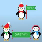 Penguins holding the flags and banner for Merry Christmas — Stok Vektör