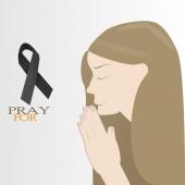 Dark gray ribbon with Pray word on gray bg — Stockvector