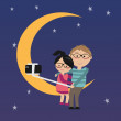 Lovers selfie togerther on the moon — Stock Vector #61416701