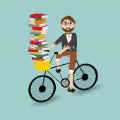 Hipster man riding the bicycle caring a lot of books — Wektor stockowy